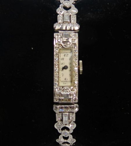 Swiss, Art Deco, platinum, 2 carats of diamonds ladies watch