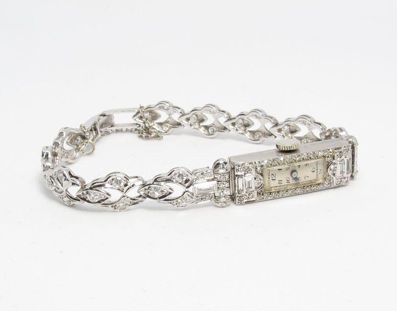Swiss, Art Deco, platinum, 2 carats of diamonds ladies watch