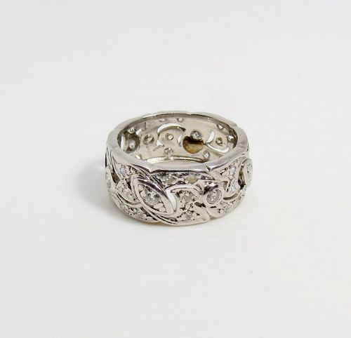 Antique, platinum, diamond eternity wedding band, ring