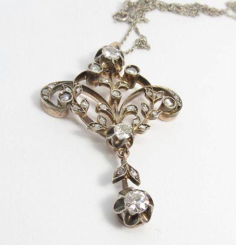 Antique, Victorian, 14k gold, diamond Lavalier necklace