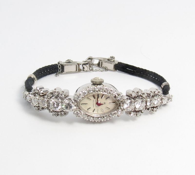 Antique, 14k white gold, 3.25ctw diamond Hamilton ladies watch