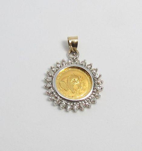 Chinese 24 karat gold panda coin pendant with diamonds