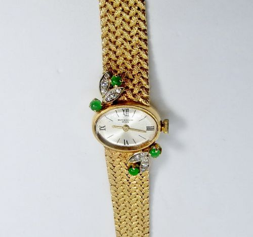 Baume Marcier, 14k gold, Emerald, Diamond ladies watch