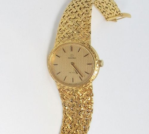Vintage, Omega De Ville, solid 18k gold ladies watch