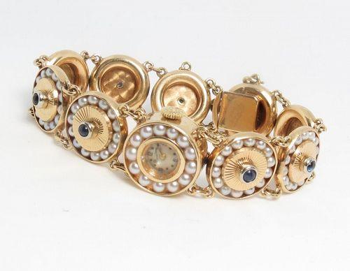 Vintage Lucien Piccard, 14k gold, pearls ladies watch