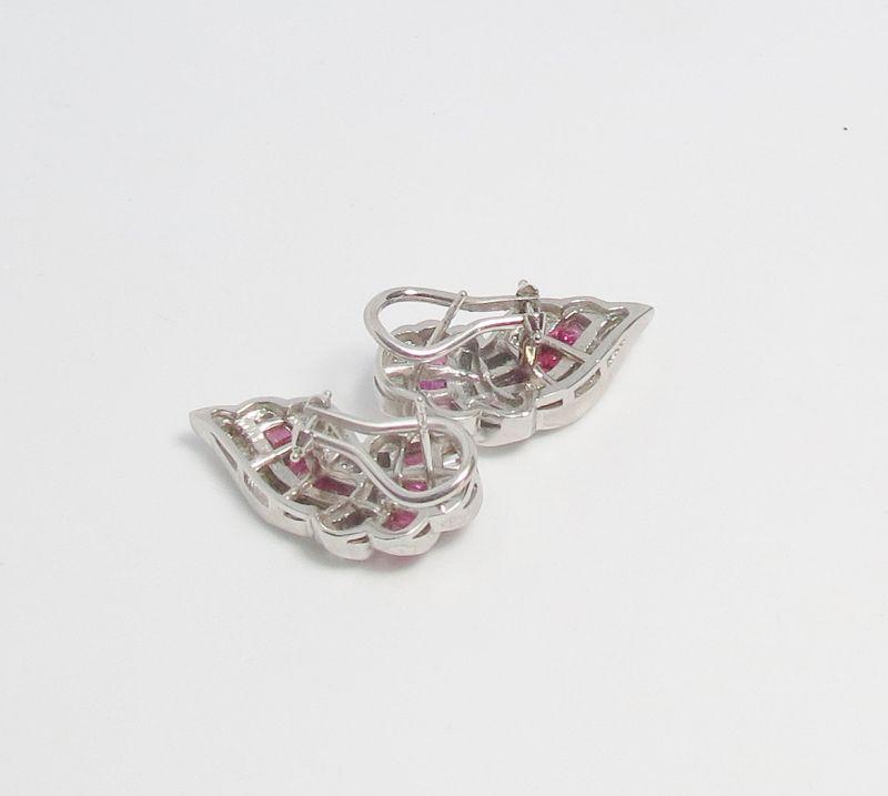 Estate, 14k white gold, diamond and ruby earrings