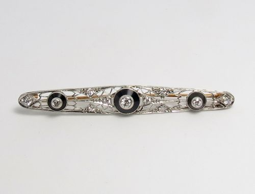 Antique, Edwardian, platinum, diamond and onyx bar pin brooch
