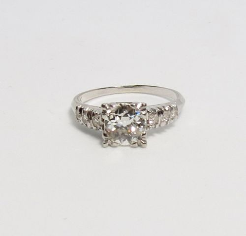 Antique, 14k white gold, old cut diamond engagement ring