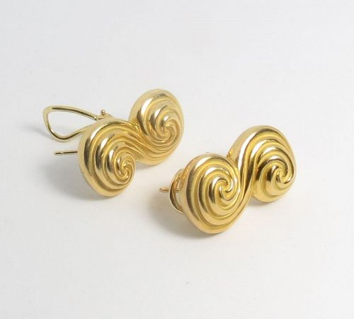 Retired Tiffany & Co 18k yellow gold earrings. Spiro collection.