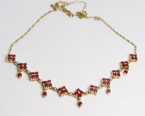 Estate, 14k yellow gold, natural ruby, diamond lavalier necklace