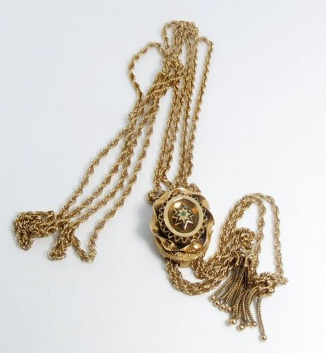 Antique, 14k yellow gold slider chain necklace with tassels