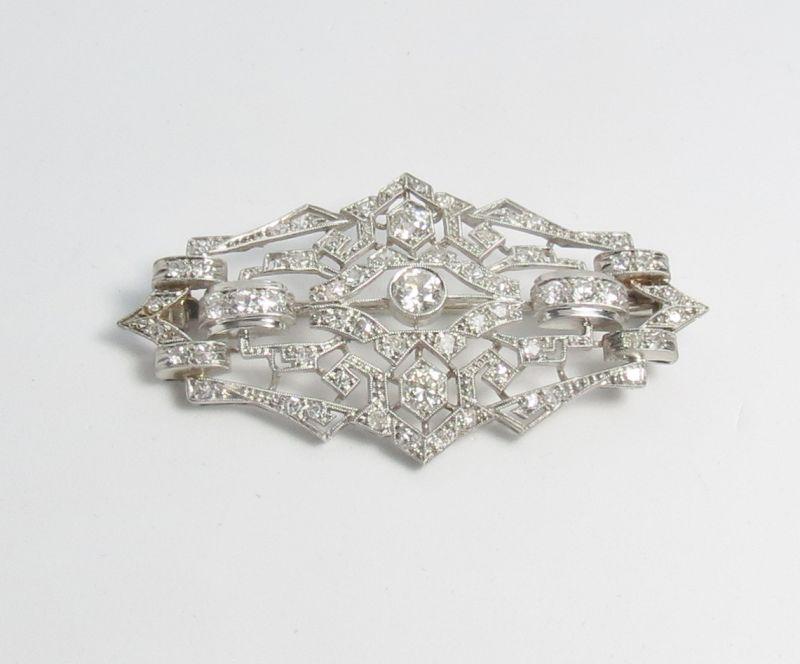 Antique, Art Deco platinum diamond brooch, pin