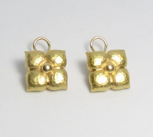 Retired Tiffany & Co Paloma Picasso 18k yellow gold flower earrings