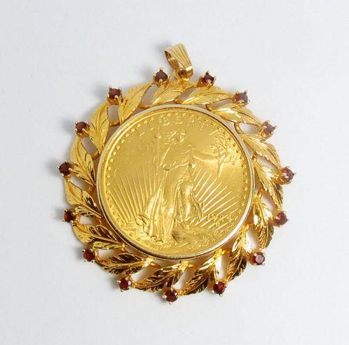Vintage $20 dollar gold coin in 14k gold and garnet bezel pendant
