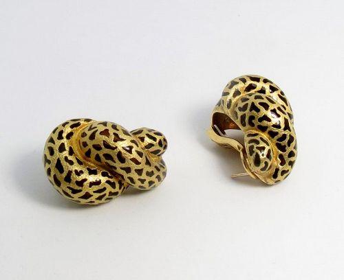 Large, designer 18k yellow gold, plique a jour shell earrings