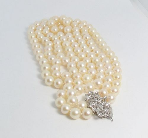 2 strand coultured pearl bead necklace 14k gold diamond clasp