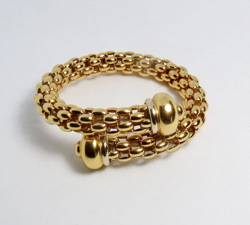 FOPE 18k yellow, white gold bypass flex bangle bracelet