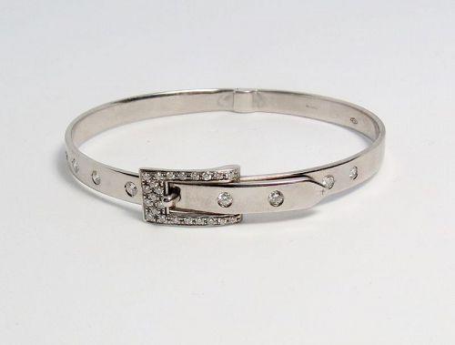 Estate, 18k white gold, diamond buckle bangle bracelet