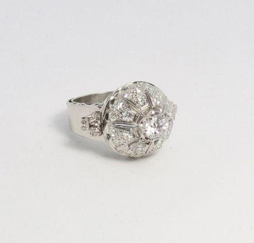Art Deco, platinum, 2ctw diamond dome ring