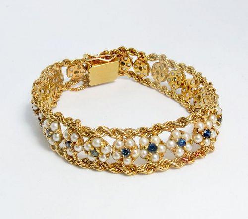 Antique, 18k gold, genuine pearl, sapphire link bracelet