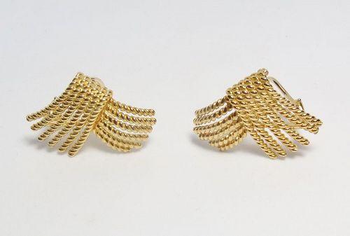 Vintage, Tiffany & Co, Schlumberger 18k gold rope earrings