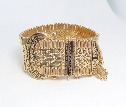 Large, 14k gold, enamel Hamilton watch bracelet with tassel