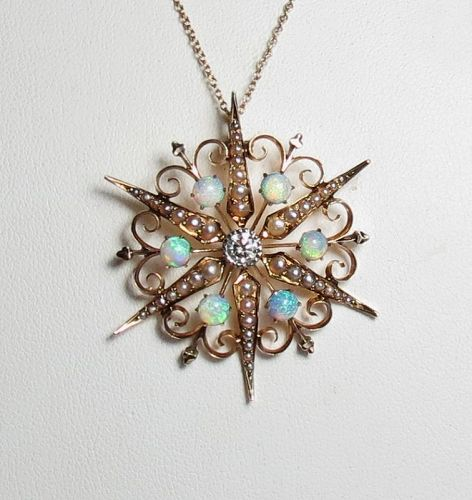 Antique, 14k gold, opal diamond, seed pearl star necklace