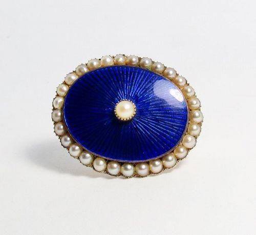 Antique, Victorian, 14k gold, enamel, pearl brooch, locket