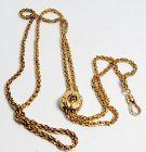 Antique, 14k yellow gold, sapphire slider chain necklace