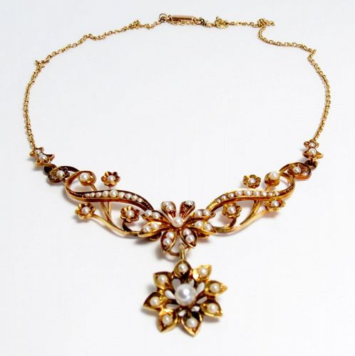 Antique, Art Nouveau, 14k gold, natural seed pearls necklace