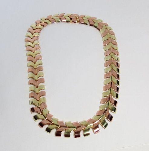 Designer, 14k yellow, rose chevron necklace by Wordly, Allsopp