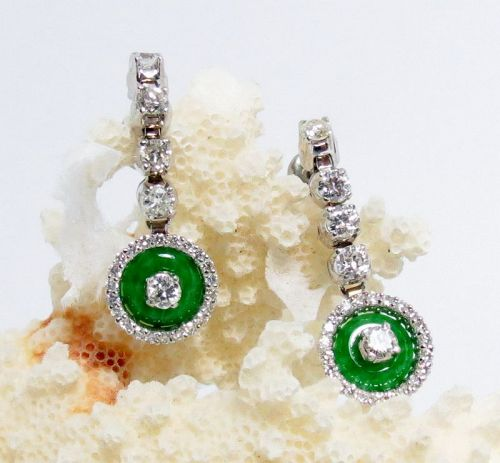 14k white gold, diamond, Imperial Jade dangle earrings