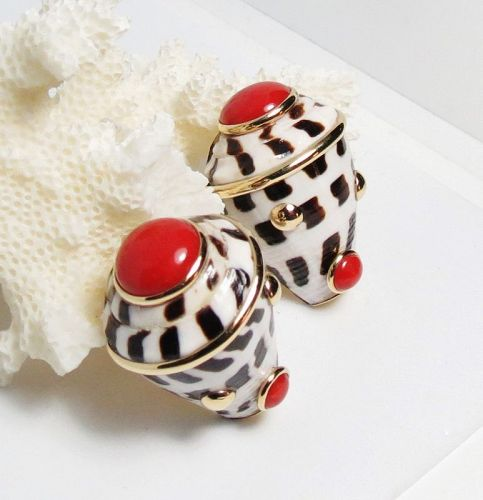Designer signed, MAZ 14k gold shell and red coral earrings