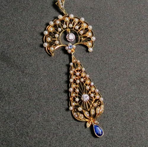 Antique, Art Nouveau, 14k gold, seed pearl, sapphire diamond necklace