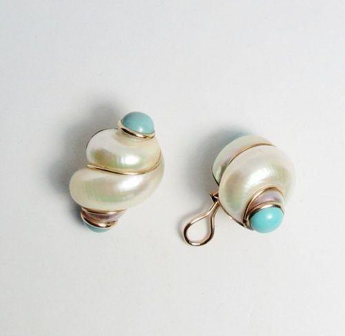 """Large, designer signed """"MAZ"""", 14k gold, shell turquoise earrings"""
