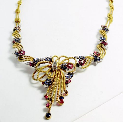 18k yellow gold, ruby, sapphire and diamond necklace