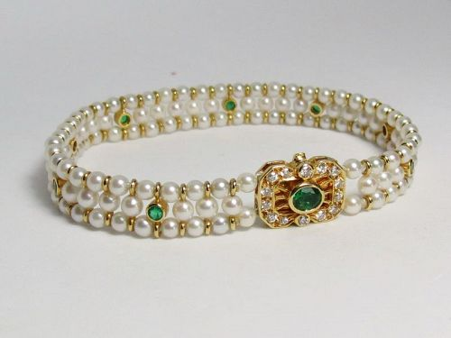Designer signed, Adler 18k gold, emerald, cultured pearl link bracelet