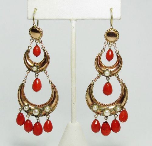 Large, antique, 14k yellow gold red coral dangle earrings