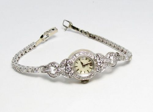 Vintage, antique, Hamilton 14k gold diamond, ladies watch