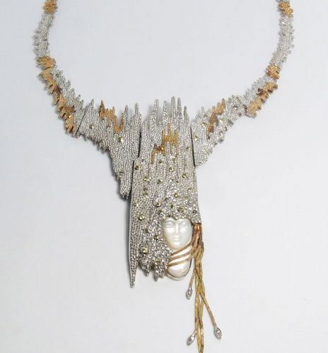 "ERTE, ""SOPHISTICATION"" necklace, gold, silver MOP and diamonds"