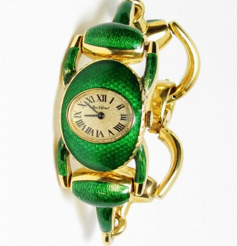 Bueche Girod, 18k gold, enamel Ladies Swiss made wrist watch