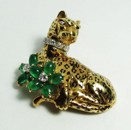 Designer, Emis Beros, 18k gold, emerald, diamond panther brooch