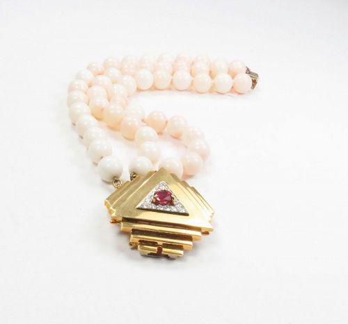 Designer, Emis Beros, 18k gold, ruby, angel skin coral bracelet