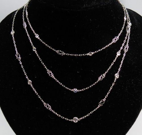 "Platinum, 1.93ctw. diamond by the yard necklace, 37"" long"