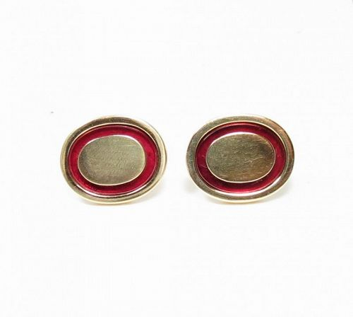 Men's engravable oval cufflinks with red enamel in 14k yellow gold