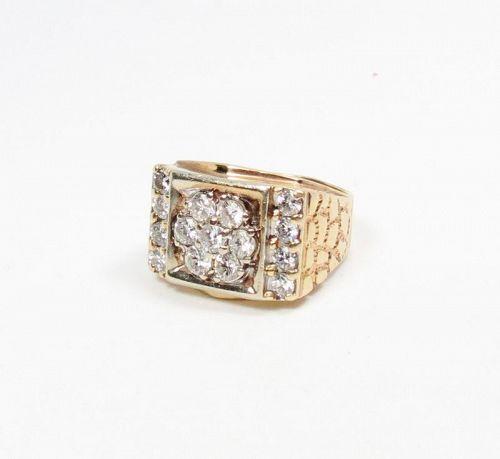 Men's, 14k gold, 2.28 carats of diamonds signet, ring