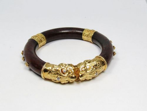Vintage, 24k gold, hard wood, diamond, foo dog bangle bracelet