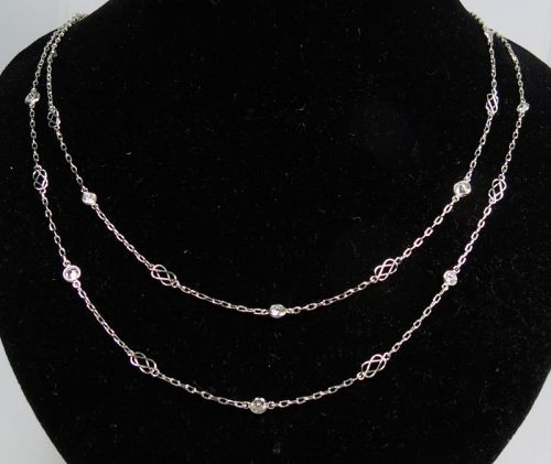 "Platinum, 1.28ctw. diamond by the yard necklace, 18"" long"