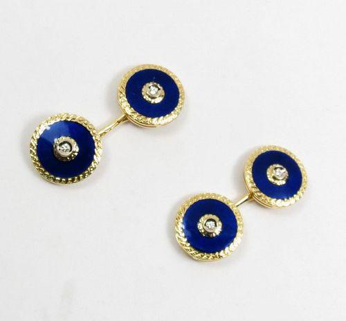 Estate, 18k gold, blue enamel diamond cuff-links