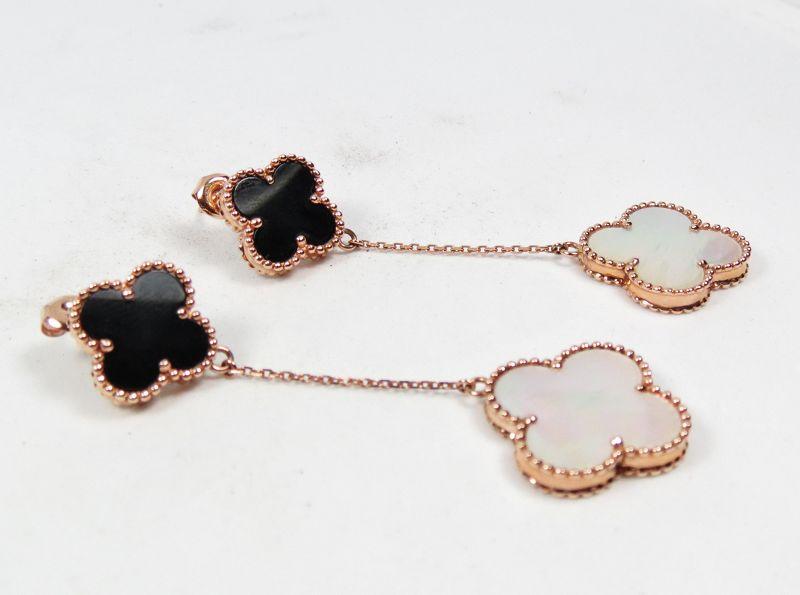 14k rose gold onyx, mother of pearl clover dangle earrings